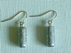 Small silver glass bead earrings